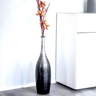 Bodenvase ANNA Hochglanz schwarz-silber H 55 | 80 cm