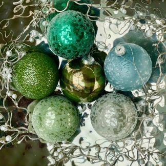 Weihnachtsbaumschmuck Glaskugeln GRÜNMIX 6erSet ø 8 cm