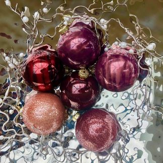 Weihnachtsbaumschmuck Glaskugeln ROSAMIX 6erSet ø 8 cm