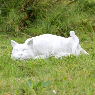 """Gartenfigur Katze """"ANNABELLE"""" weiß L 45 cm"""