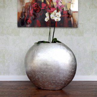 Bodenvase CLAIRE Hochglanz silber H 50 cm
