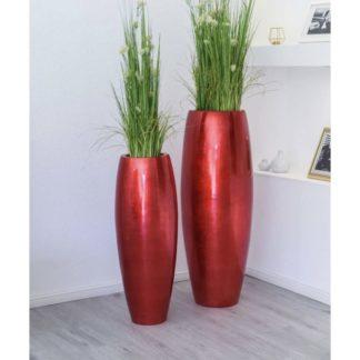 Bodenvase CARA Hochglanz rot H 100 | 80 cm