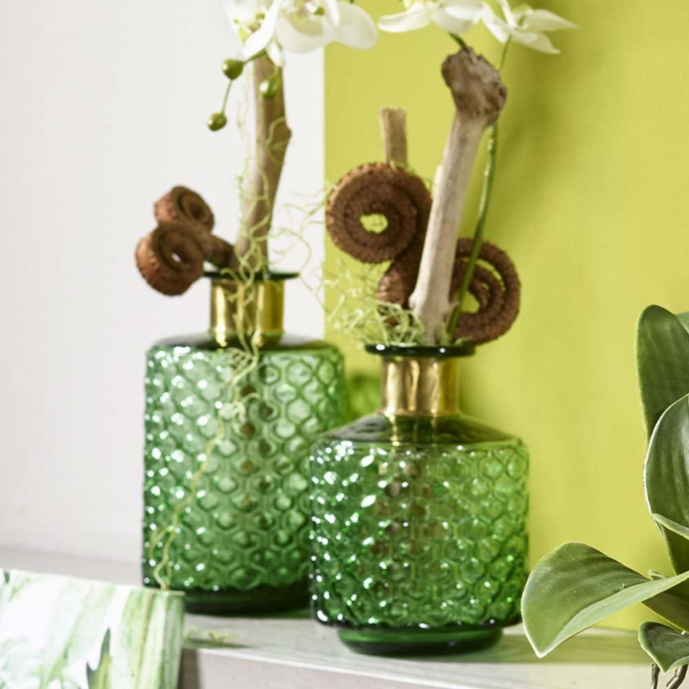 Glasflasche JENNY mit Goldrand H 26   20 cm