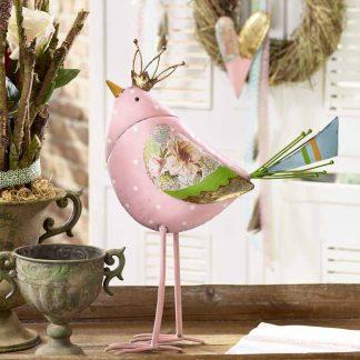 Figur Vogel NITA mit Krone Metall H 45 cm