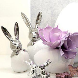 Hase | Ei SCRATCHY Casablanca - niedliche Osterhasen in silberner Optik mit passendem Osterei. Einzeln oder alsPärchen ein echter Hingucker.