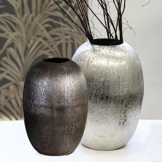 Vase EDI Casablanca silber/brüniert  H 34 | 39 cm
