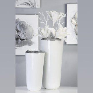 Vase PRIME Casablanca H 35 cm silber weiß Hochglanz