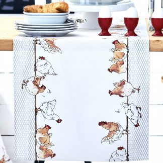 Tischdecke 5300 Apelt COUNTRY BREAKFAST HUHN 90x90 cm