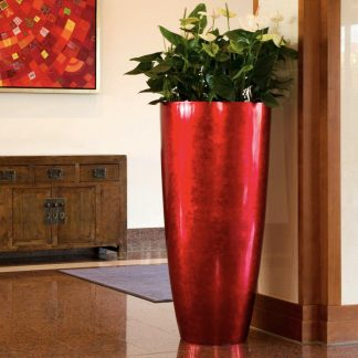 Bodenvase CECILE Hochglanz rot H 100 | 80 cm