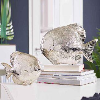FISCH stehend silberfarben L 35,5 | 26 cm