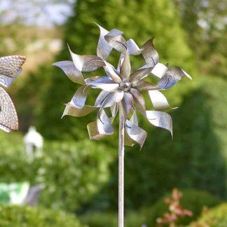 WINDMÜHLE Metall silberfarben H 180 cm