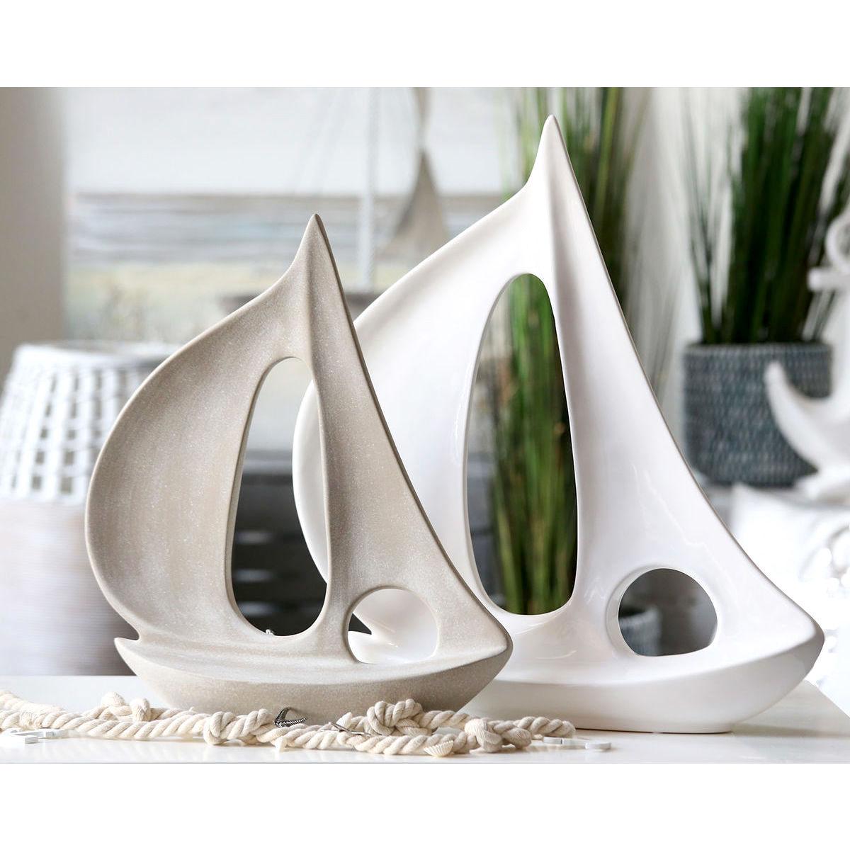 Segelboot Casablanca TURN weiß/grau matt H 55/45 cm
