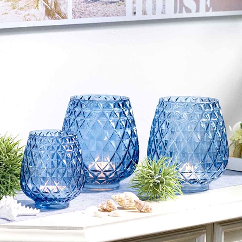 GLAS Windlicht blau H 15 cm