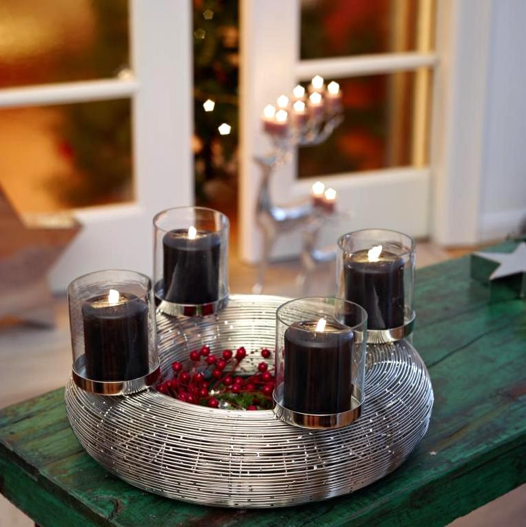 adventskranz verona edzard edelstahl mit glas 36 cm. Black Bedroom Furniture Sets. Home Design Ideas