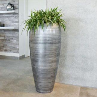 Bodenvase CAROLINE Hochglanz silber schwarz H 81 cm
