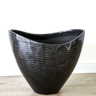 Dekoschale AMINA Hochglanz schwarz-silber H 31 cm