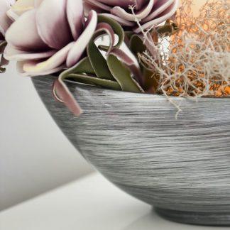 Dekoschale ANTONIA Hochglanz schwarz-silber H 16 cm