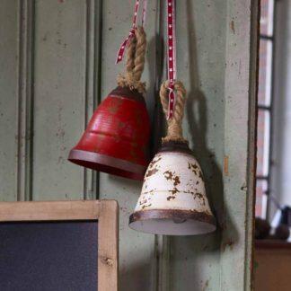 Weihnachtsdeko Metall GLOCKE rot-rost | weiß-rost H 33 cm