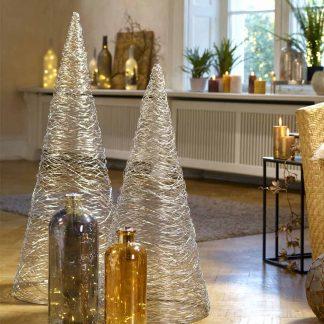 Weihnachts Kegel SHINY silberfarben H 105 | 80 cm