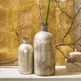 VASE Glas creme metallic H 33 cm | 23 cm