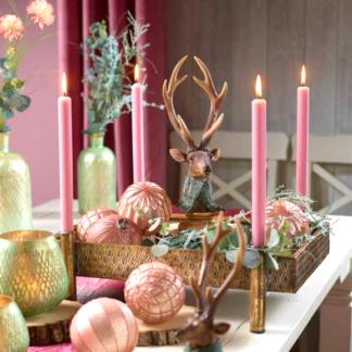 Kerzenständer mit Schale antik gold B 41 cm