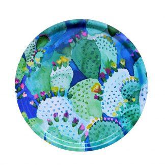 Tablett Bluebellgray CACTUS rund aus Birkenholz