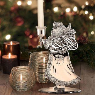 Kerzenleuchter SANTA CLAUS Edzard H 20 cm versilbert