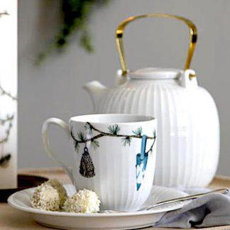 Tasse HAMMERSHOI Kähler weiß mit Deko H 9,5 cm