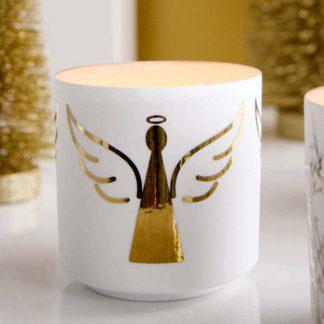 Windlicht ENGEL ASA weiß-gold H 8,8 | 6,8 cm