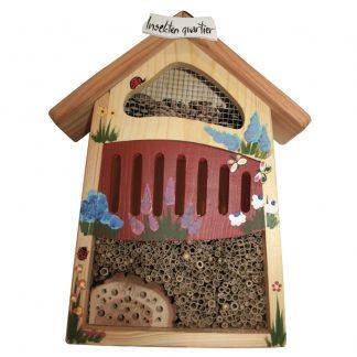 Insektenhotel Insektenquartier klein Vogelvilla rot bemalt H 40 cm
