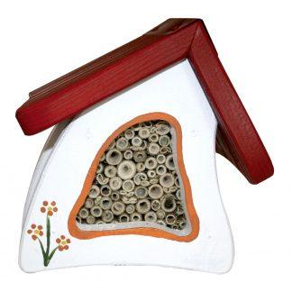 Insektenhotel Insektenstübchen Vogelvilla weiss H 17 cm