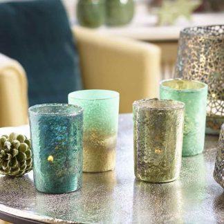 GLAS TEELICHT 4er Set grün Mix
