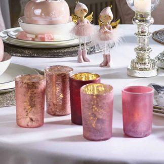 GLAS TEELICHT 3er Set pink