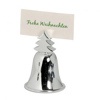 Weihnachtsdeko Glocke Tischkartenhalter Edzard versilbert H 7 cm