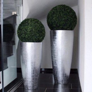 Bodenvase CECILE Hochglanz silber H 100 cm | 80 cm
