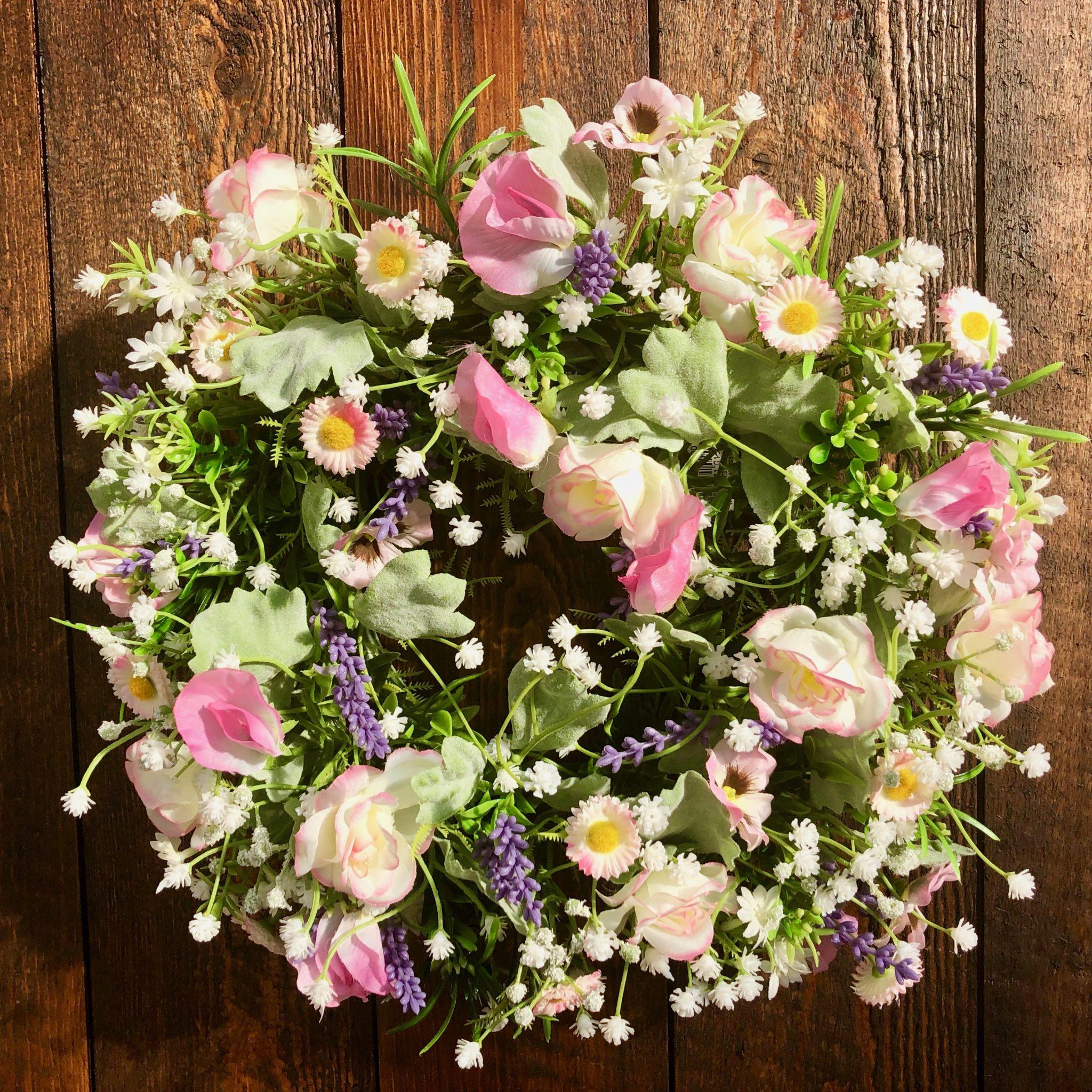 Seidenblütenkranz DAISY aus Rosen und Vicken ø 25 cm