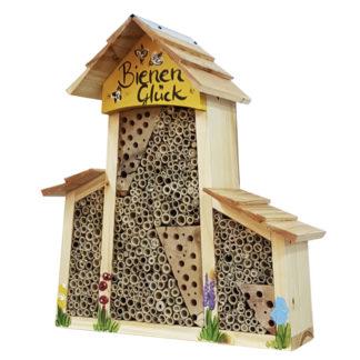 Bienenhotel groß mit Anbau BIENEN Glück mit Lamellendach Vogelvilla H 34 cm