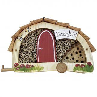 Bienen Hotel WOMO mit Lamellendach Vogelvilla H 15 cm