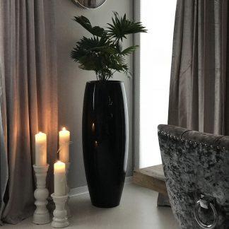 Bodenvase CARA Hochglanz schwarz H 100 | 80 cm