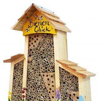 Bienen Hotel groß mit Anbau BIENEN Glück mit Lamellendach Vogelvilla H 34 cm