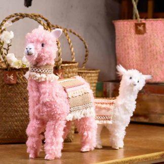 Lama NETTI & MICKI mit Satteldecke rosa |creme H 34 | 23 cm