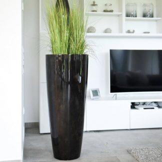 Bodenvase COSIMA Hochglanz braun mit goldbraunem Karo H 100 cm