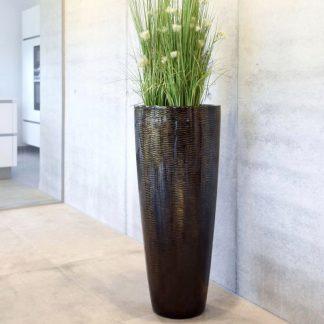 Bodenvase COSIMA Hochglanz braun mit Schlangenmuster H 100 cm