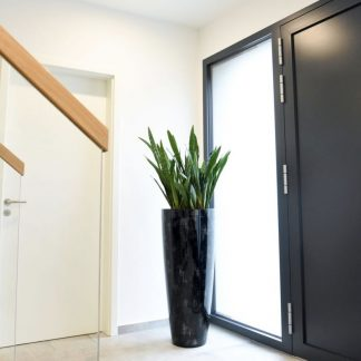 Bodenvase COSIMA Hochglanz schwarz mit silbernem Karo H 100 cm