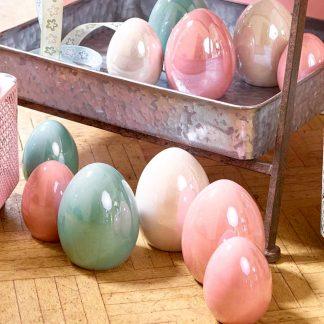 Osterei Keramik pearl blau | pearl pink | pearl weiß 8x10 cm