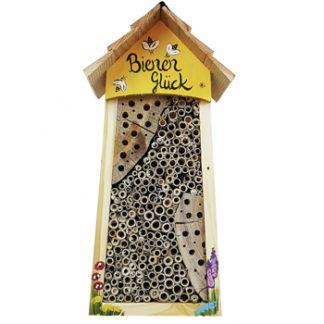Bienenhotel groß BIENEN Glück mit Lamellendach Vogelvilla H 34 cm