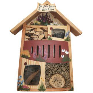 Insektenhotel Insektenquartier groß FÜR FLOTTE BIENEN & SÜSSE KÄFER Vogelvilla rot H 58 cm