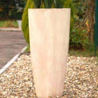 Bodenvase CECILE beige geriffelt H 80 cm