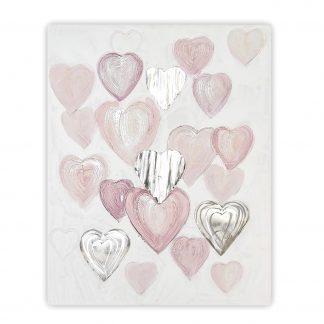 Bild HEARTS Casablanca Leinwand auf Holz 100x80 cm rosé