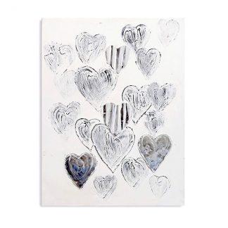 Bild HEARTS Casablanca Leinwand auf Holz 100x80 cm silber / grau